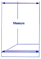 Diagram of how to measure standard shower stalls.