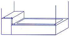 Diagram of how to measure bath tub or shower with step panel.
