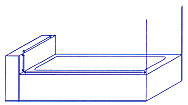 Diagram of how to measure bath tub or shower stall with stub wall.