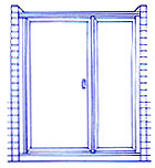 Door and Panel shower example. One door, one fixed panel.