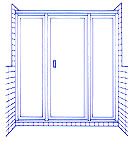 Door and panel shower example. One piano hinged door and two fixed panels.